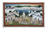 Silk Handmade King Procession Painting Original Udaipur Scene Home Decor Art
