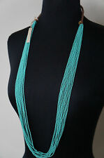 "NEW Chan Luu Turquois Seed Bead 39"" Long Short Multi Strand Necklace Cotton Cord"