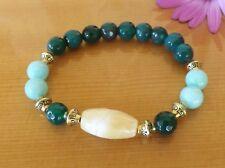 Faceted Green Agate Amazonite Honey Quartz Gemstones Bracelet Yoga Jewellery