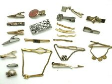 Vintage Lot of 20 Men's Tie Bar Clips Misc Silver & Gold Tone Wrench Horse Drum