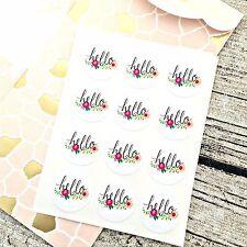 Flower 'hello' sticker, Round flower sticker, Hello sticker, Happy mail, Wedding