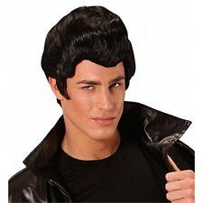 Mens Rockabilly Black Quiff Wig Danny Grease Fancy Dress Costume Accessory