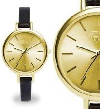 Damen Armbanduhr Gelbgold/Schwarz schmales Lederarmband GX08003009 von gooix