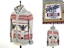 Men's Grey Cosy SUPERDRY Knitted Winter Aztec Jumper Zipper WOOL Cardigan UK M