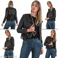 New Womens Long Sleeve Biker Fringe Lower Zip Hooded style Jacket 8 10 12 14 16