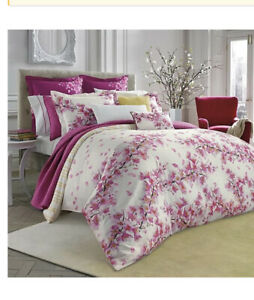 NIP Bluebellgray Cherry Blossom White Pink Full/Queen Comforter & Shams Set 3pc