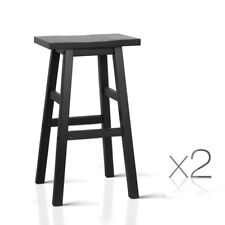 Set of 2 Wooden Bar Stool Dining Chairs Kitchen Bistro Cafe Black