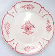 """Vintage HB Quimper France Round Dinner Plate Scalloped 9.5"""" Pink Floral 222 189"""