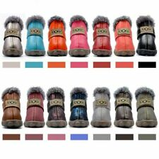 Dog Shoes 4 Pcs Winter Warm Anti Slip PU Leather Pet Outdoor Walking Snow Boots