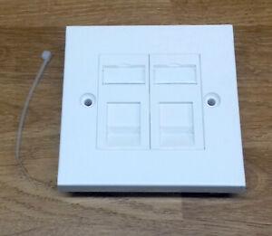 Kauden CAT5E RJ45 Modules in Double Faceplate 2 Port Network Data Wall Socket