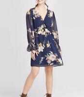 NWT Xhilaration Navy Blue Floral Dress Boho Long Sleeve Mini Length XS S XL