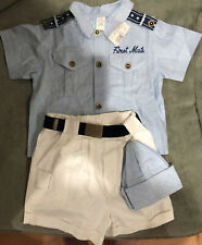 "Toddler ""First Mate"" Outfit Blouse Shorts & Hat 18 Months Brand New W Tag"