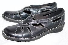 CLARKS BENDABLES Nikki Regatta 39333 Wo's 7.5 Black Leather Casual Flats Slip On