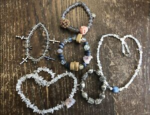 Collection Bracelets Necklaces Stone Rhinestone Crystal Coral Kyanite Druzy Lot