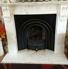 More details for marble fireplace surround with cast iron insert