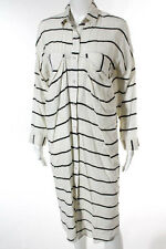 3+1 Audrey White Black Striped Two Pocket Collared Shirt Dress Size Small