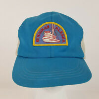 Vintage Alaska Ketchikan Fishing Boat Patch Mesh Trucker SnapBack Hat Cap Blue