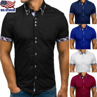 Mens Shirt Double Collar Button Down Slim Fit Casual Shirt Short Sleeve Blouse