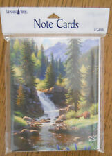 8 Leanin Tree Cards Blank Inside, Mountains, Waterfall, Pine Trees, BEAR & CUB