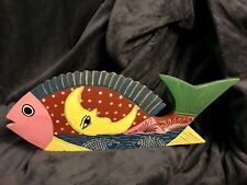Retro Fish Nautical Hand Carved Painted Wood Folk Art 19""