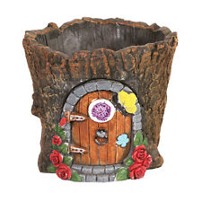 Fairy Door in Tree Stump Trunk Cement Flower Pot / Garden Planter Lawn Ornament