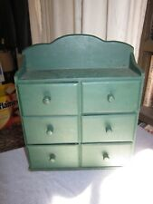 Small Green Painted PINE Wood Spice Cabinet