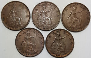 5 x Great Britain Farthings King George V 1927 1928 1929 1931 1932