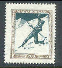 HUNGARY 1925 SPORTS Scarce DOWNHILL SKIING