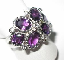 Sterling Silver Modern Style Dress Ring - Natural Stones - Amethyst - Zircons