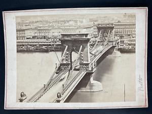 Hongrie, Pesth, pont Vintage print. Carte cabinet  Tirage albuminé  10x15