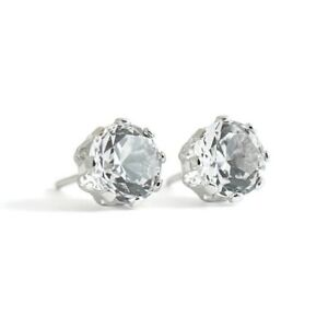Round CZ Stud Earrings White Gold Plated .84 CTW, 1.12 Grams