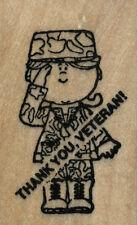 "mounted rubber Stamp THANK YOU VETERAN! Camoflauge Uniform mount 1 1/4"" X 2 1/4"""