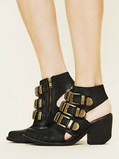 FREE PEOPLE TRIPOLI BUCKLE BOOT JEFFREY CAMPBELL SHOES BLACK SUEDE BOOTIE 7 $268