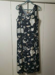 Hilo Hattie's Hawaiian Tank Dress Sleeveless Blue Maxi Size Misses XL EUC