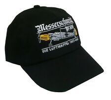 MESSERSCHMITT BF 109 GERMAN WW11  EMBROIDERED BLACK  ADJUSTABLE BASEBALL CAP.