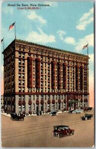 New Orleans LA Postcard HOTEL DE SOTO (Cost $1,000,000) Street View 1916 Cancel