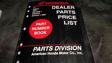 Honda OEM Dealer Parts Price List Manual 1st Edition 2007 Vol 1