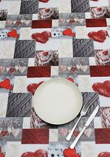 Peggy Wilkins Pvc Tablecloth - Alpine Hearts - Wipe Clean Cloth - Homeware