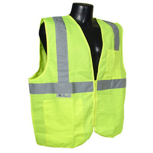 5-XL Radians 2 Pockets Neon Green Safety Vest with Reflective Strips ANSI/ISEA