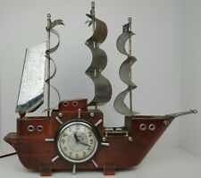 Vintage United Wooden Ship w/ Metal Sails Mantle Clock Not Working Parts Repair