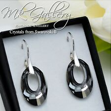 925 SILVER EARRINGS 20MM HELIOS CRYSTALS FROM SWAROVSKI®  - SILVER NIGHT