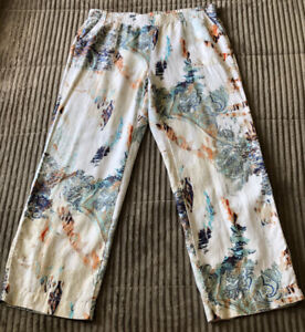 Chico's Size 3 = XL PRINT PALAZZO PANTS Linen Paisley Print Pull on Wide Leg
