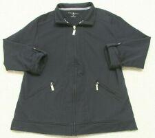 Karen Scott Sport Woman's Athletic Jacket Size Medium Cotton Spandex Coat Black
