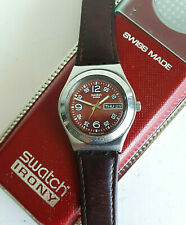 ORIGINAL 'SWATCH' IRONY WATCH 2003 RED MEDIUM DAY/DATE LEATHER STRAP