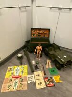 Vintage G.I. Joe Lot- 1964 Hasbro 7000 5 Star Jeep + trailer + fuzzhead