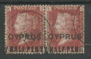 CYPRUS SG7  1881 HALFPENNY on  1d RED (GK&GL)FINE USED PAIR PLATE 216 C.£190+