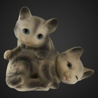 """Empress by Haruta Pair Of Gray Blue Eyed Cat Figurine 3""""T"""