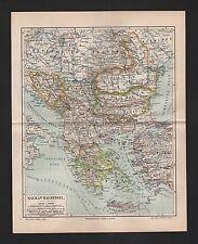 Landkarte map 1889: Balkan-Halbinsel. Kreta Griechenland Türkei Bulgarien Monten