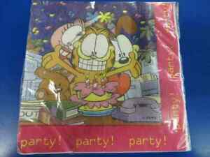 Garfield Office Party Rare Retro Cartoon Character Cat Paper Luncheon Napkins