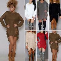 Womens Warm Casual Sweater Top Blouse Mini Jumper Long Sleeve Dress Hole Chic AU